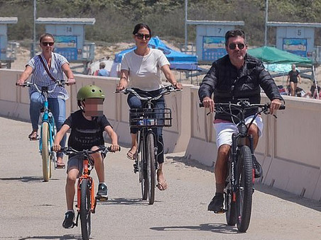 Simon Cowell back on his electric bike after his accident