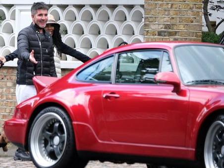 Simon Cowell shows off a sparkly brand new Porsche
