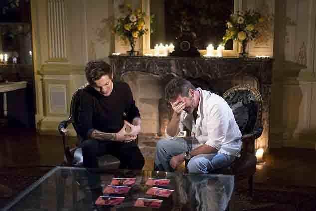 Simon Cowell and Louis Tomlinson deciding on X Factor contestants