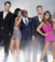 Simon Cowell with Paula Abdul and judges on X Factor USA