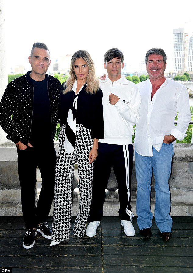 Simon Cowell, Robbie Williams. Adya Field and Louis Tomlinson at the X Factor press call