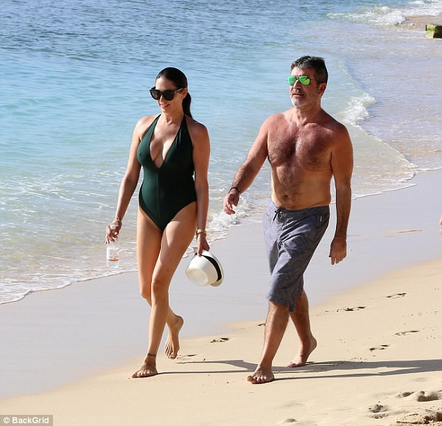 Simon Cowell and Lauren Silverman in Barbados