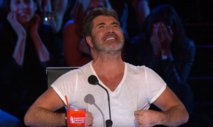 Simon Cowell with a nip moment on America's Got Talent