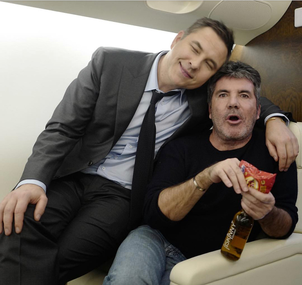 Simon Cowell and David Walliams on a private jet