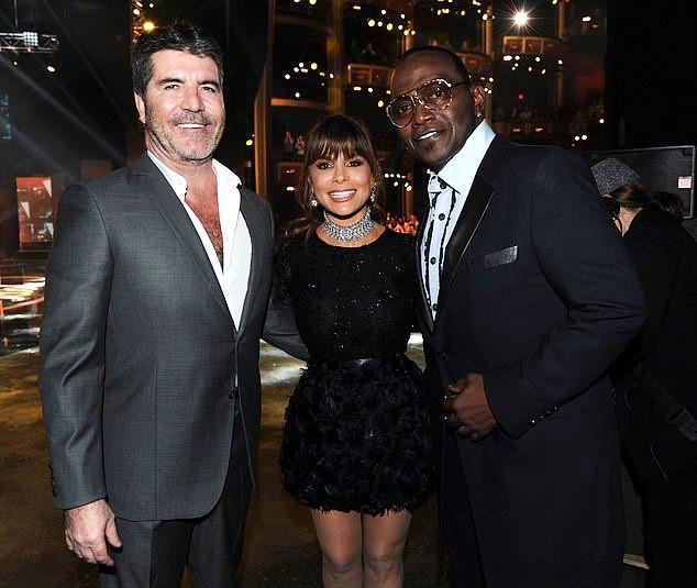 Simon Cowell with Paula Abdul and Randy Jackson