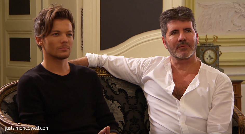 Simon Cowell and Louis Tomlinson from One Direction
