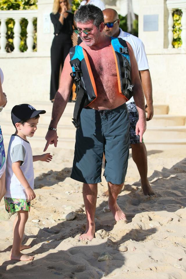 Simon Cowell in Barbados with his son Eric