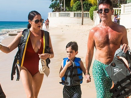 Simon Cowell spends Christmas Day on the beach in Barbados
