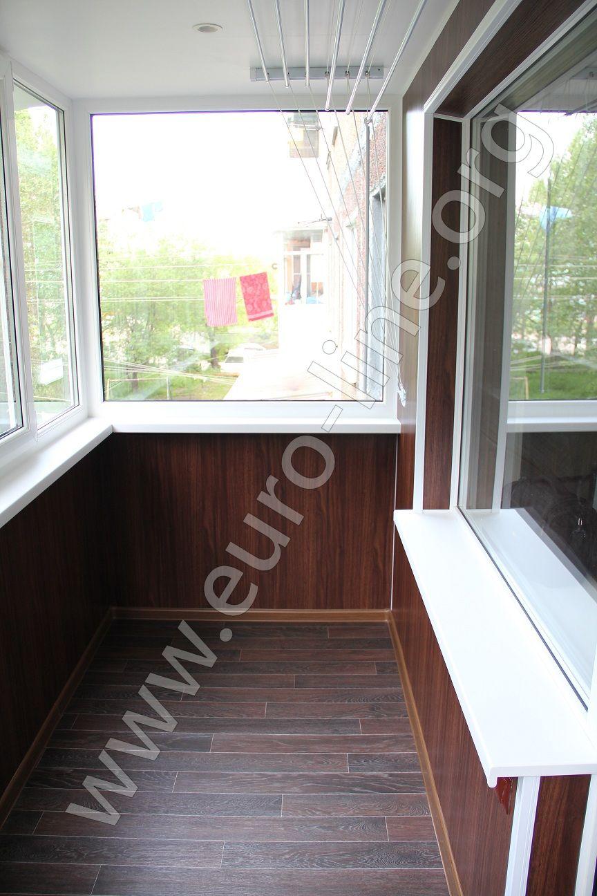Отделка расширенного балкона