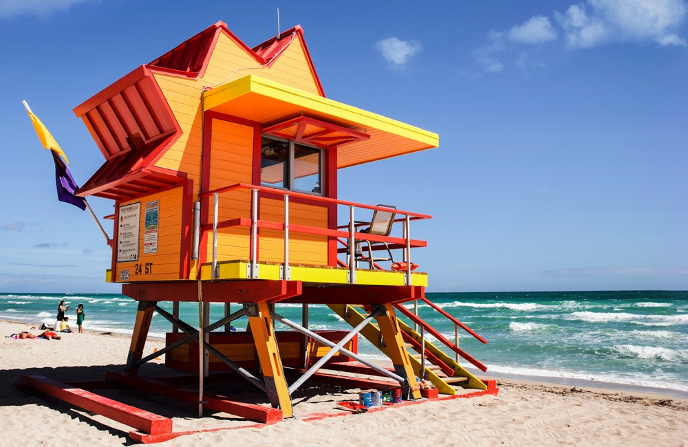 Miami Beach Lifeguard House orange