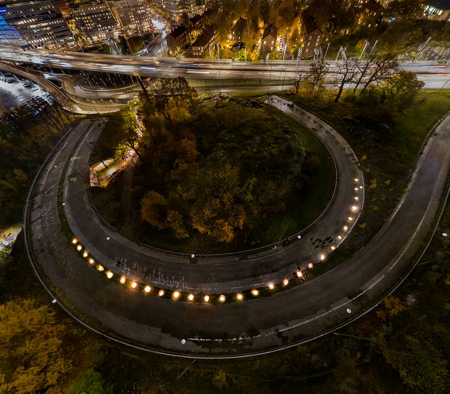 Aerial view of installation at Kristineberg- stone circles on the abandoned highway ramp.