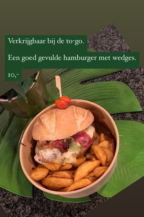 Huisgemaakte hamburger met wedges