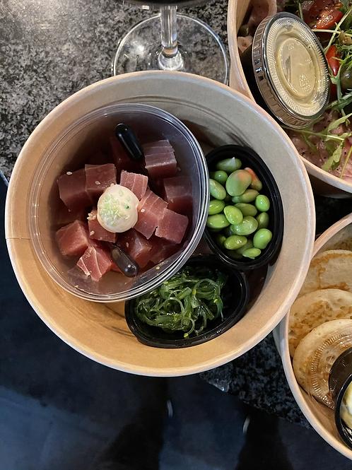 Sashimi - limoenmayonaise - wakame - soyabonen