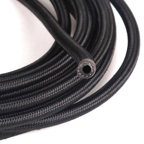 AN-12 Nylon Stainless Steel Braided Black Hose