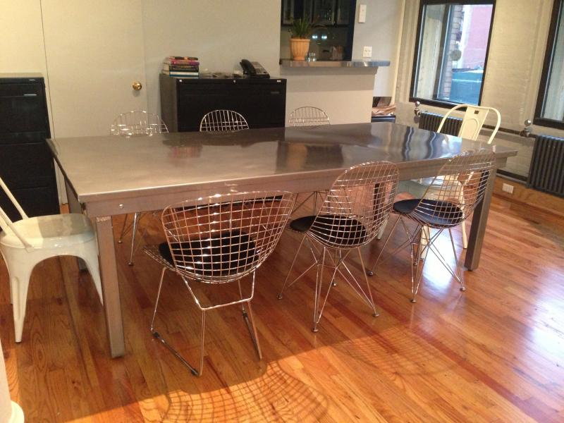 88. Steel Conference table 8'