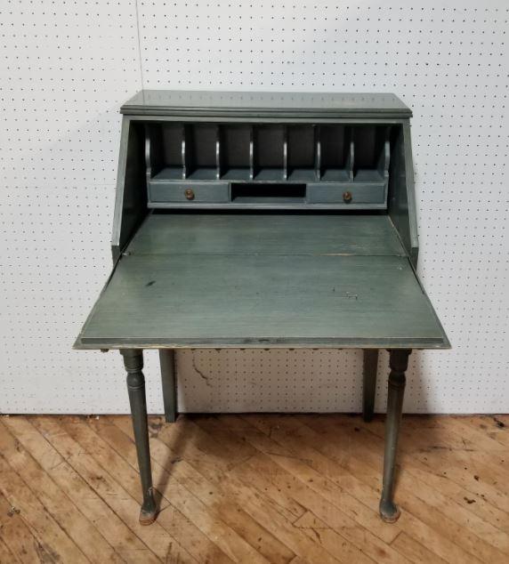 #113A.Green Vintage Writing Desk