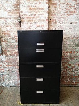 2. HON Five Drawer Lateral, Black