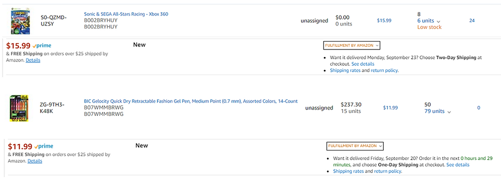Amazon Shipping Example
