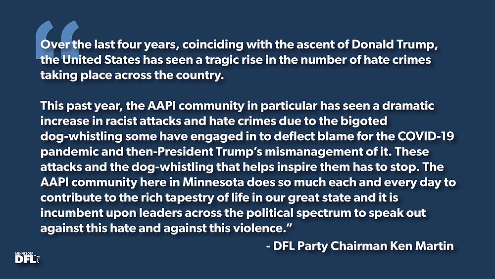 DFL Party Condemns Hate Crimes Directed at AAPI Community