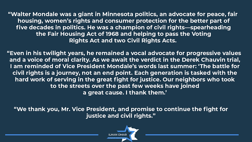 Rep. Omar's Statement on the Passing of Walter Mondale