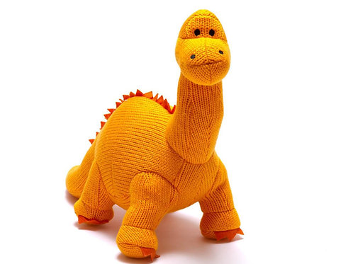 Knitted Orange Diplodocus Soft Toy Rattle