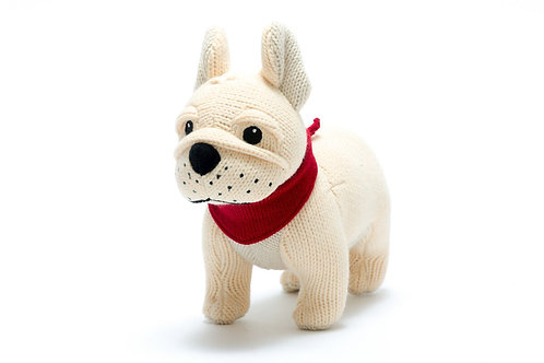 Knitted French Bulldog Rattle Soft Toy