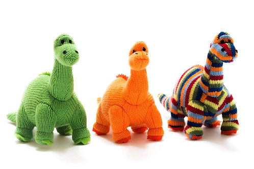 Knitted Green Diplodocus Dinosaur Soft Toy Rattle