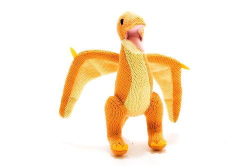 Knitted Yellow Pterodactyl Soft Toy Rattle