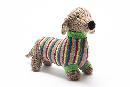 Knitted Sausage Dog Soft Toy