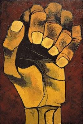 Ilustración: Guayasamín, O. 1988. El puño de la lucha [Arte mural]. Lugar: Salón del plenario del Palacio Legislativo, Quito, Ecuador.