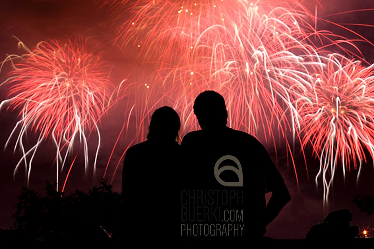 people watching firework