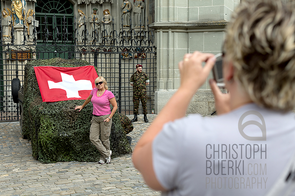 swiss army and tourists