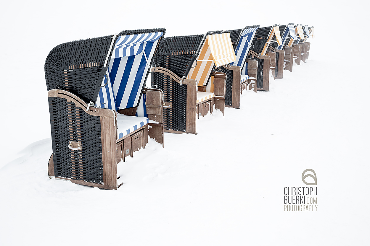 beach chairs in snow