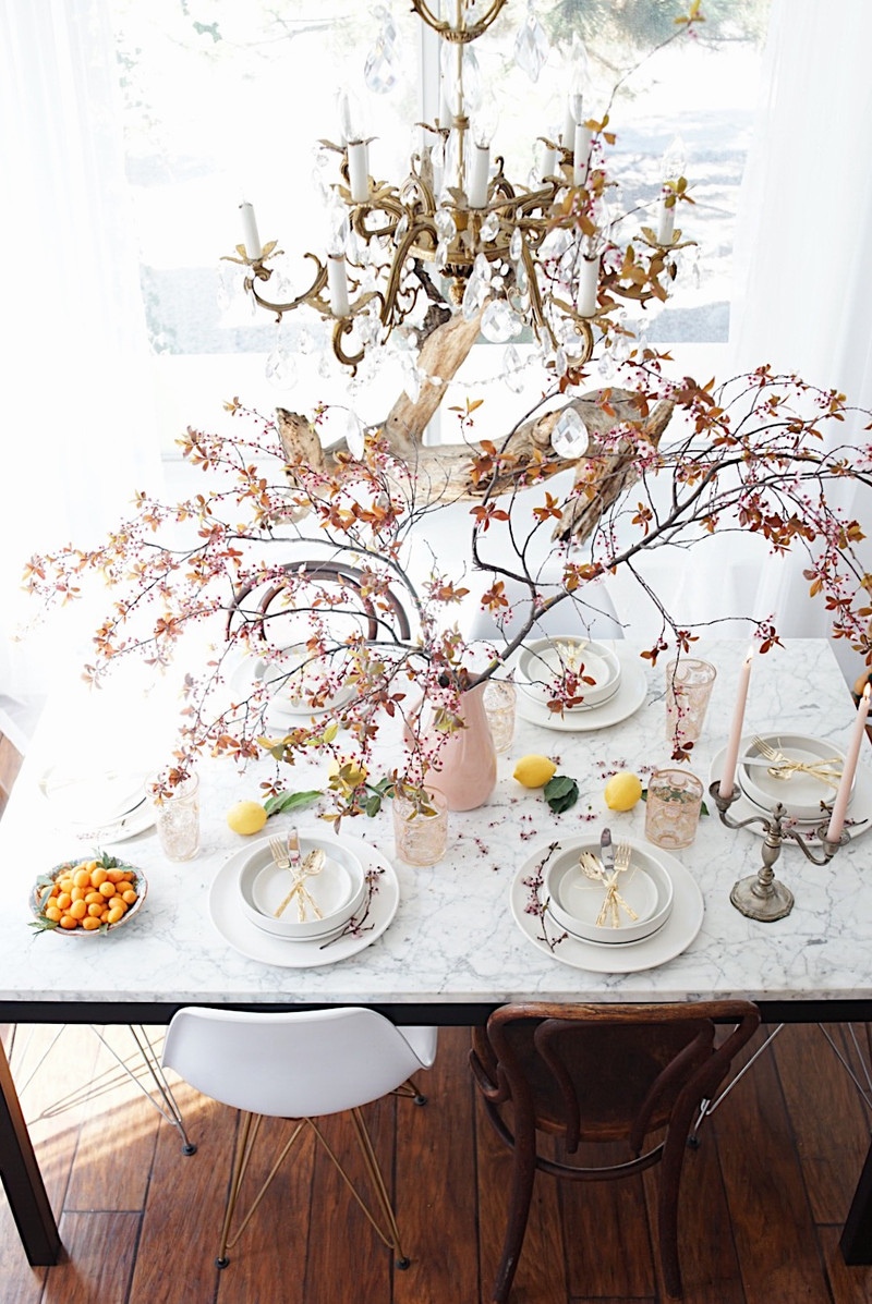 my foraged spring tablescape...