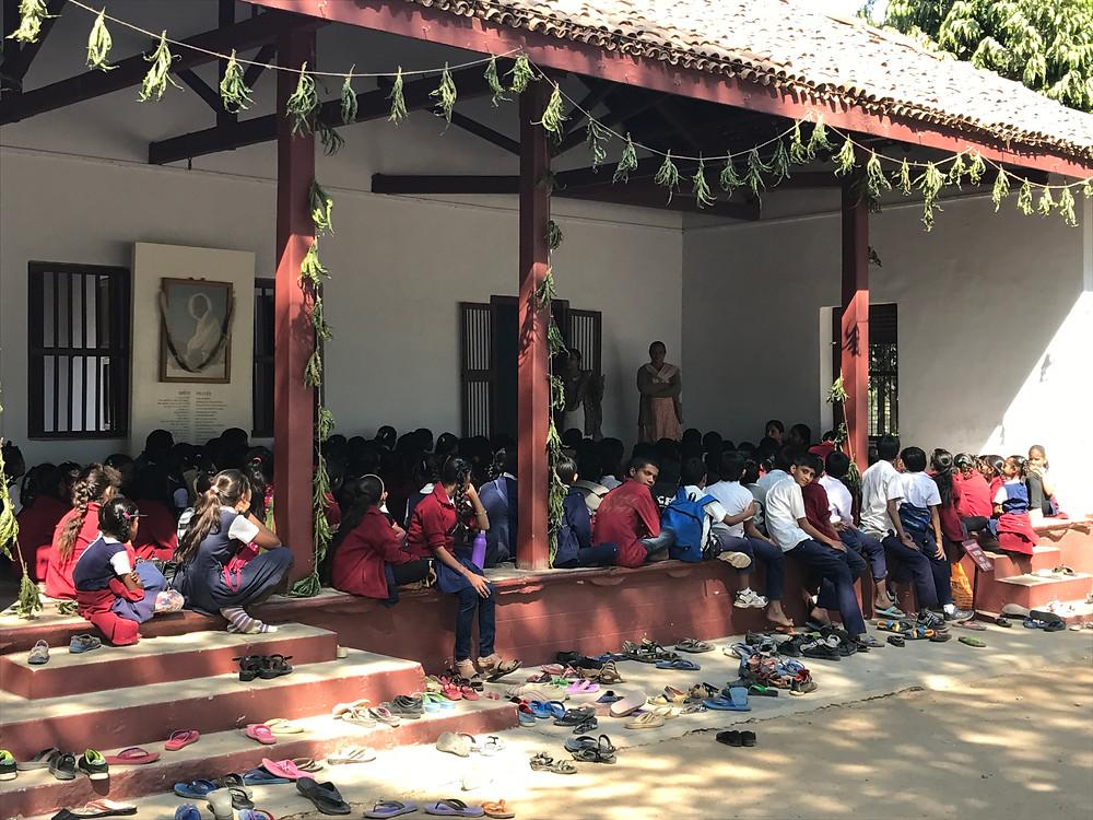 Children of the Ashram hostel learning in Ghandi's home.
