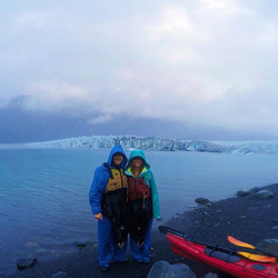 Stopped to stretch our legs about a quarter of a mile from the face of #bearglacier