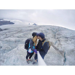 Pardon the social media PDA. But we're standing on top of a 1,000 foot glacier. And this guy is abou