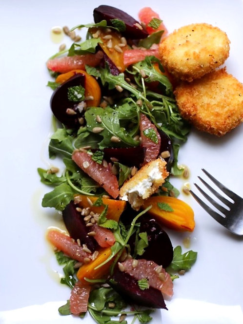 Roasted Beets + Goat Cheese Croutons