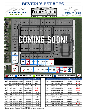 Updated Beverly Estates Phase 2 Lot Pric