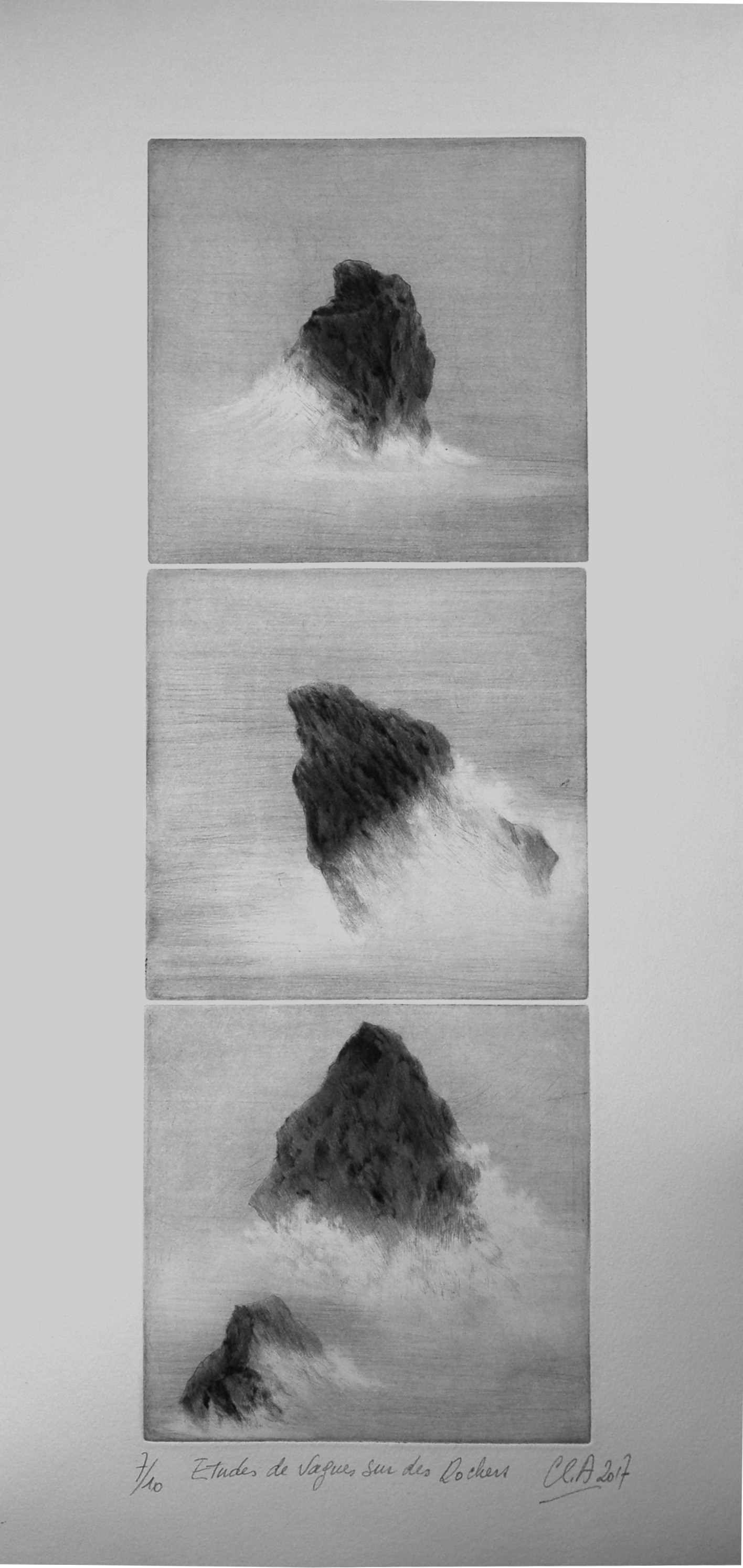 Etudes de vagues sur des rochers