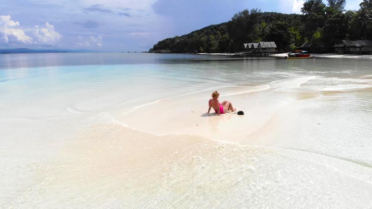 Sand bank in front of Yenbuba Homestay