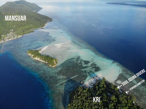 Drone photo of Mansuar and Kri Island