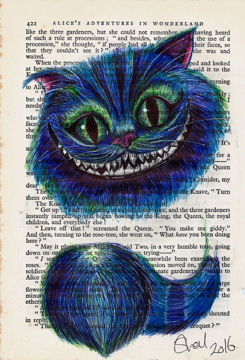 Cheshire Cat on Book Page