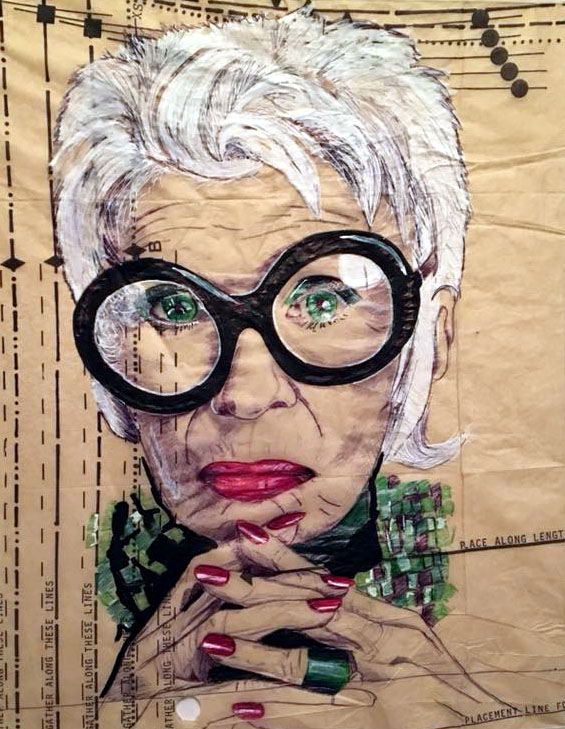 Iris Apfel Portrait on vintage dress pat