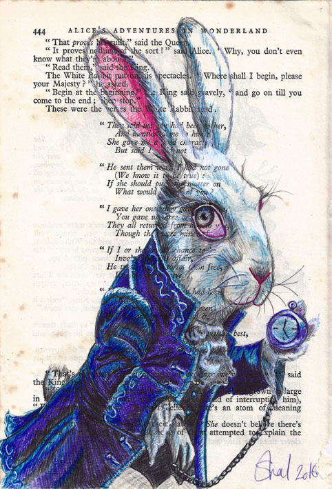 The White Rabbit book page biro art