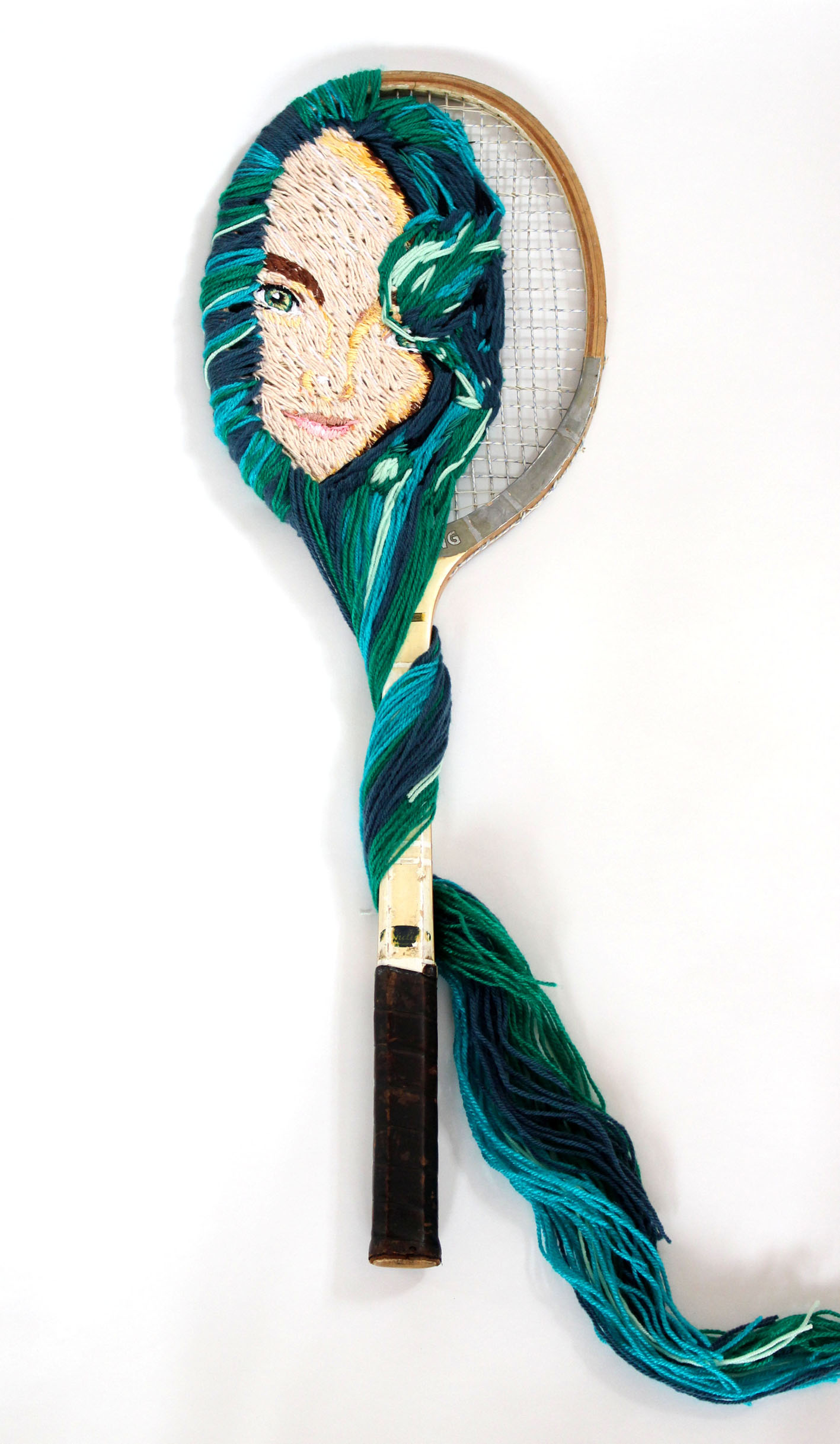 Tennis Racket, wool woven portrait of gi