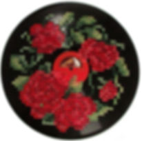 Musical Blooms Cross Stitched Vinyl_