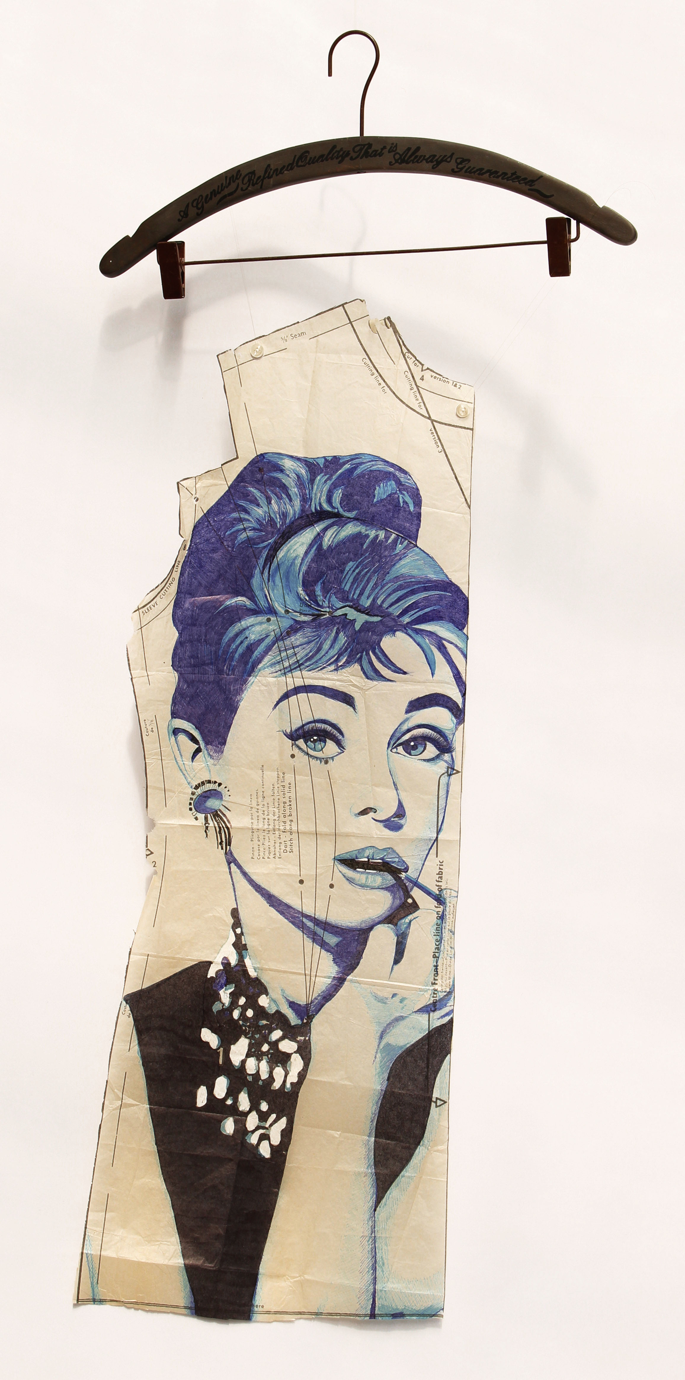 Audrey Hepburn Biro Art Portrait on Vintage Dress Patterns