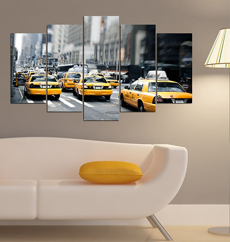 New york Taxi 5 Pieces MDF Painting