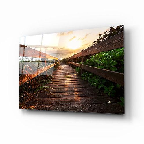 Sunset UV Printed Glass Printing the Beach
